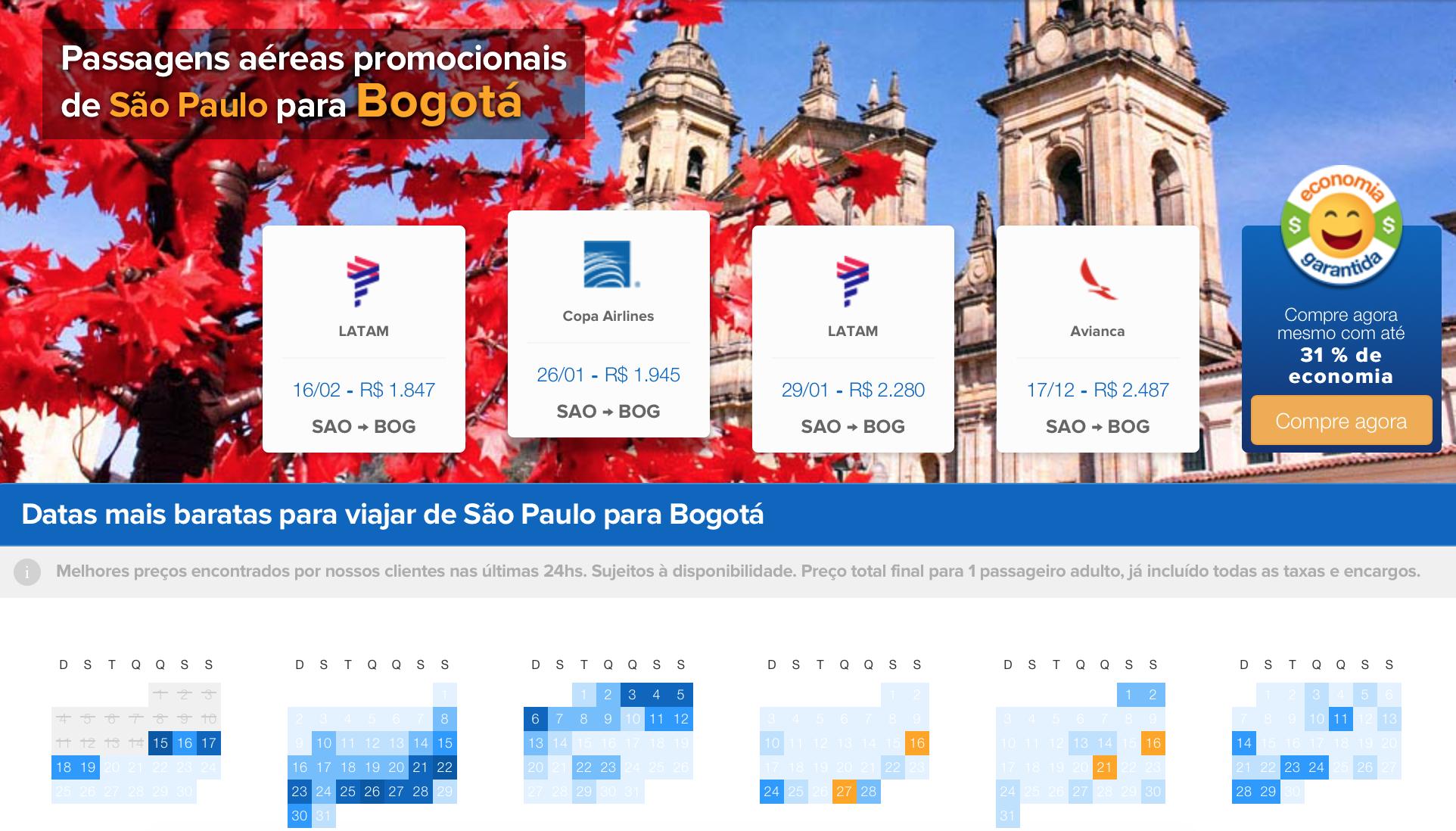 Economizando com passagens de avião para a Colômbia
