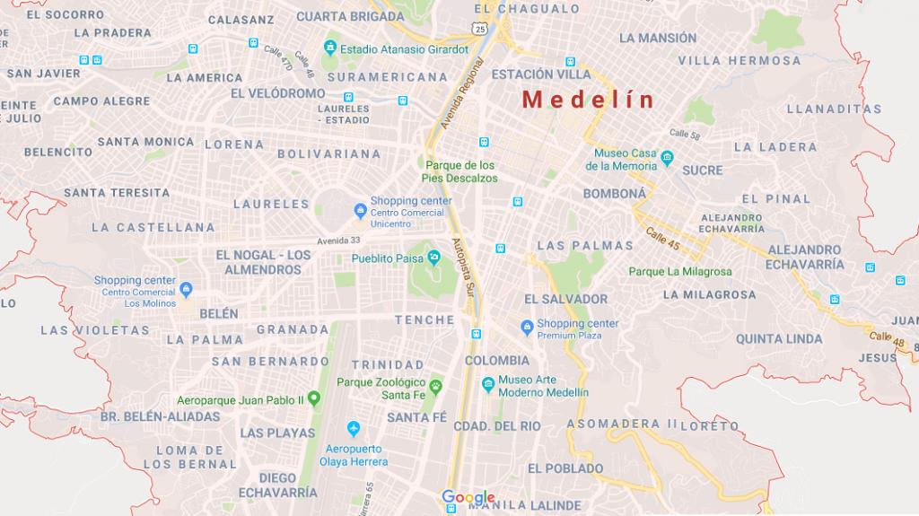 Mapa de Medellín, na Colômbia